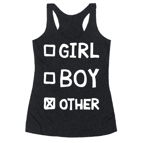 Non-Binary Gender Checklist Racerback Tank Top