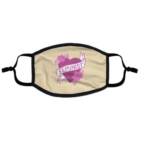 Feminist Heart Flat Face Mask