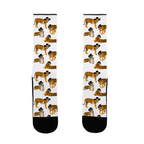 Tigers in Cowboy Hat Pattern Sock