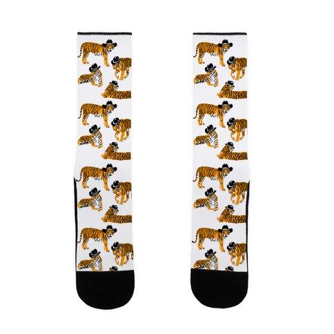 Tigers in Cowboy Hat Pattern Sock