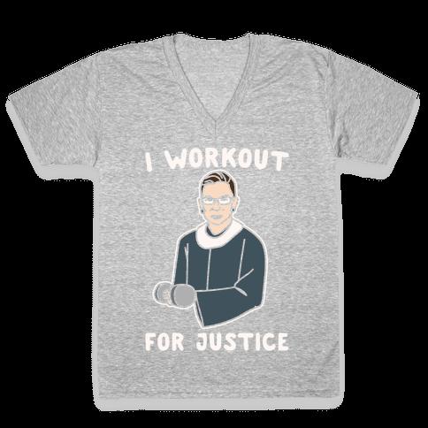 I Workout For Justice RBG Parody White Print V-Neck Tee Shirt