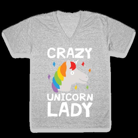 Crazy Unicorn Lady V-Neck Tee Shirt