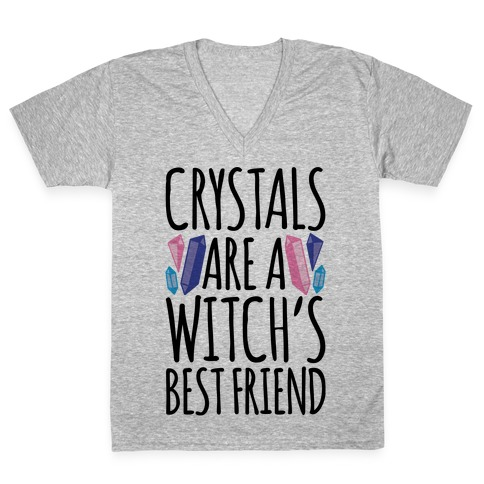 Crystals Are A Witch's Best Friend V-Neck Tee Shirt