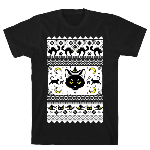 Witchy Black Cats Ugly Sweater Mens/Unisex T-Shirt