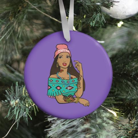 Hipster Pocahontas Ornament