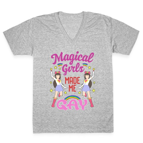 Magical Girls Made Me Gay V-Neck Tee Shirt