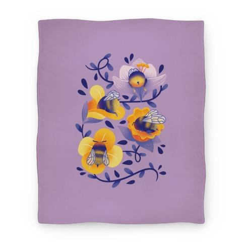 Sleepy Bumble Bee Butts Floral Blanket
