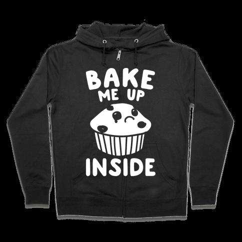 Bake Me Up Inside White Print Zip Hoodie
