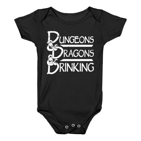 Dungeons & Dragons & Drinking Baby Onesy