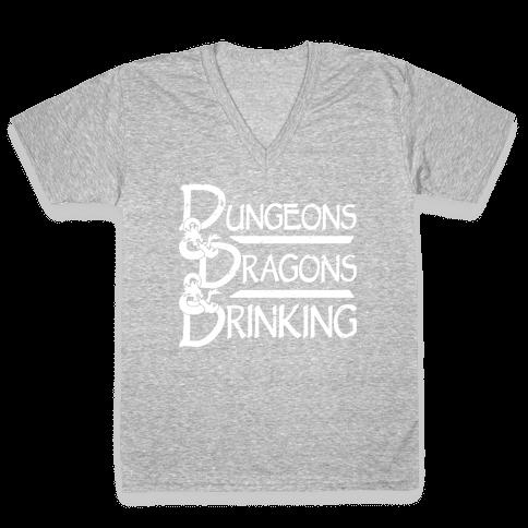 Dungeons & Dragons & Drinking V-Neck Tee Shirt