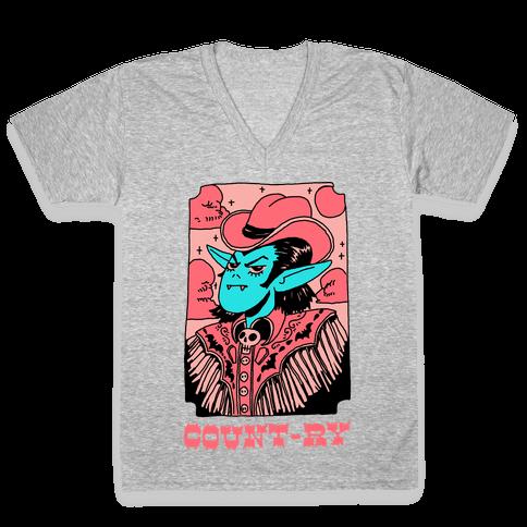 Count-ry Vampire V-Neck Tee Shirt