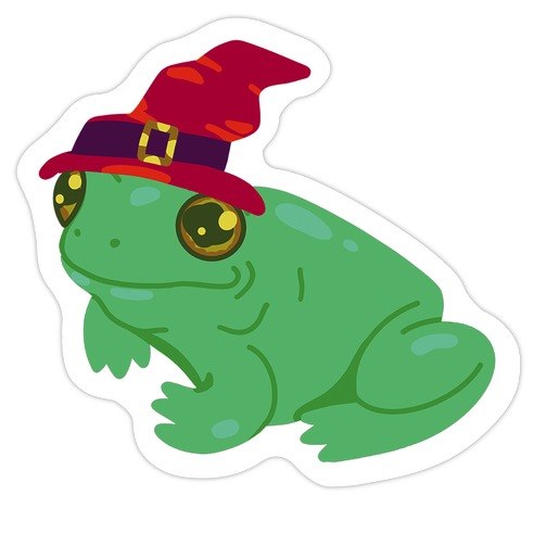 Red Hat Magical Mushroom Frog Die Cut Sticker