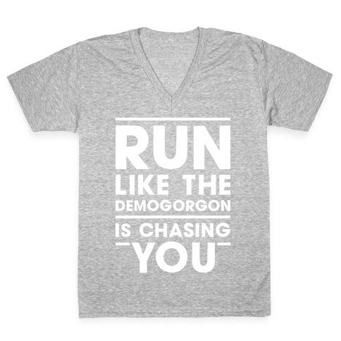 Run Like The Demogorgon Is Chasing You (White) V-Neck Tee Shirt