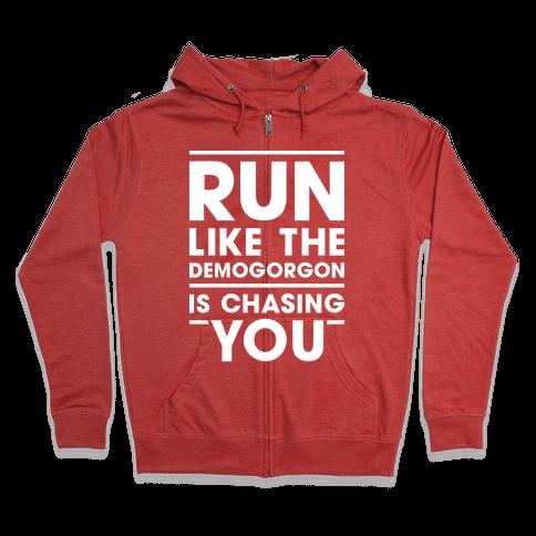 Run Like The Demogorgon Is Chasing You (White) Zip Hoodie