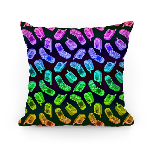Rainbow Flip Phone Pattern Pillow