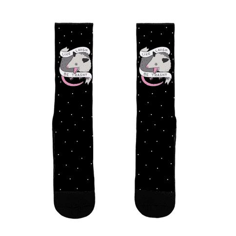Live, Laugh, Be Trashy Opossum Sock