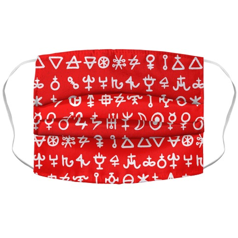 Alchemical Symbols Red and White Face Mask