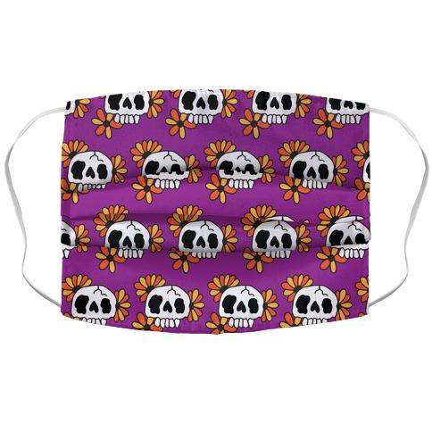 Skull Blossom Pattern Accordion Face Mask
