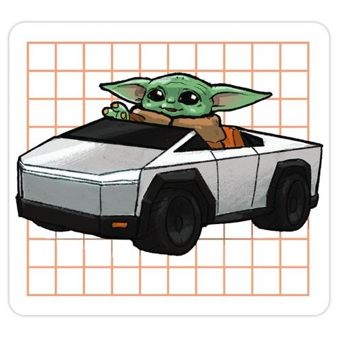 Baby Yoda in a Cyber Truck Die Cut Sticker