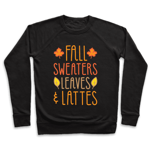 Fall Sweaters Leaves & Lattes (White) Pullover