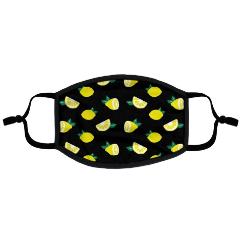 Dainty Lemons Pattern Black Flat Face Mask