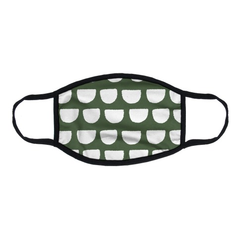 Simple Scallop Pattern Chive Green Flat Face Mask