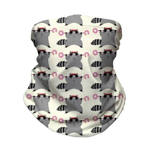 Weightlifting Raccoon Pattern Neck Gaiter