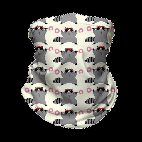 Weightlifting Raccoon Pattern Neck Gaiter