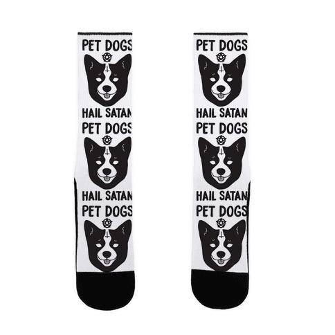 Pet Dogs Hail Satan Corgi Sock