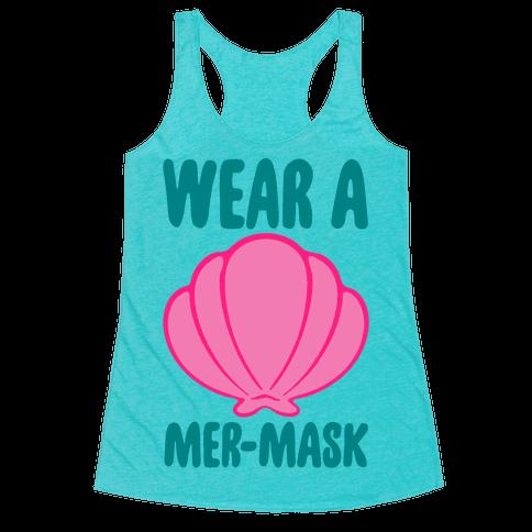 Wear A Mer-Mask White Print Racerback Tank Top