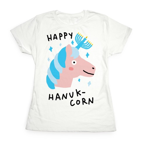 Happy Hanuk-Corn Unicorn Womens T-Shirt
