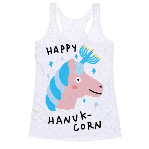 Happy Hanuk-Corn Unicorn Racerback Tank Top