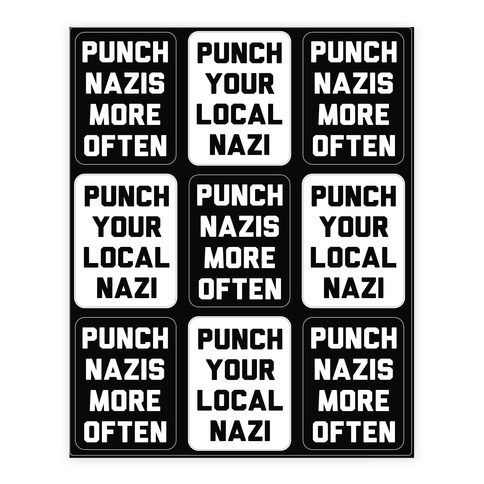 Punch Your Local Nazi Sticker and Decal Sheet