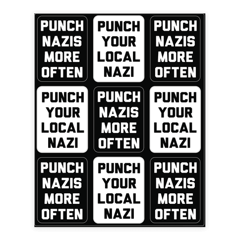 Punch Your Local Nazi Sticker/Decal Sheet