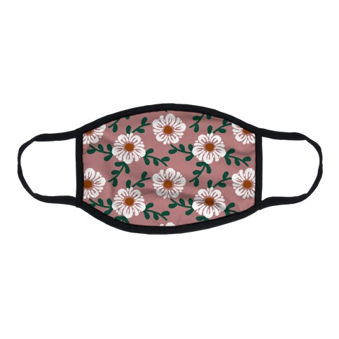 Retro Flowers and Vines Dusty Pink Flat Face Mask