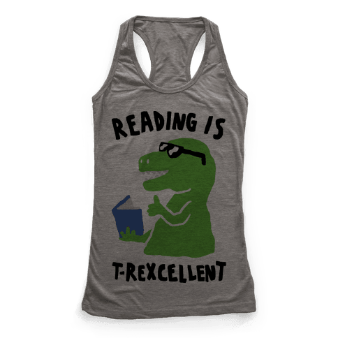 Reading Is T-Rexcellent Dinosaur Racerback Tank Top