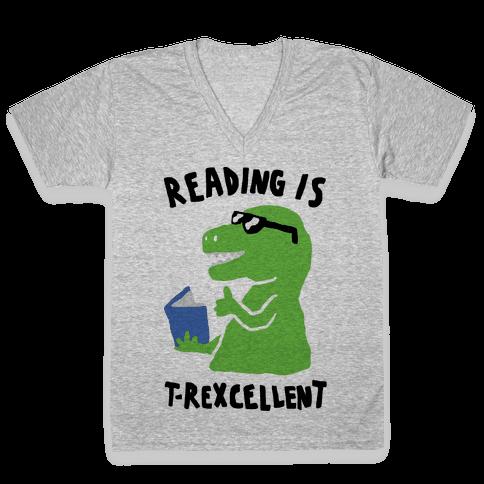 Reading Is T-Rexcellent Dinosaur V-Neck Tee Shirt