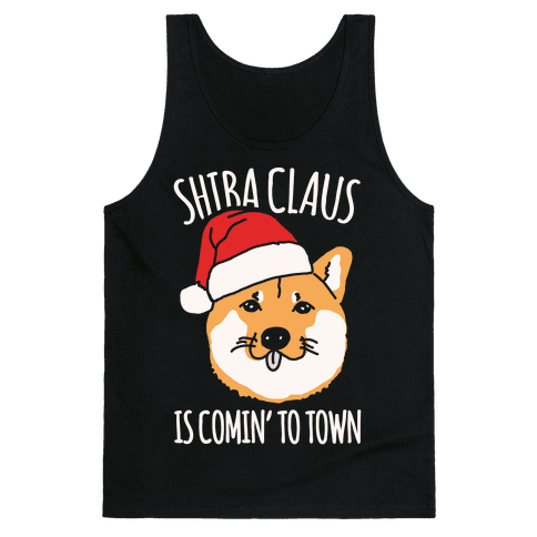 Shiba Claus Is Comin' To Town White Print Tank Top
