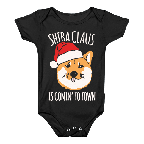 Shiba Claus Is Comin' To Town White Print Baby Onesy