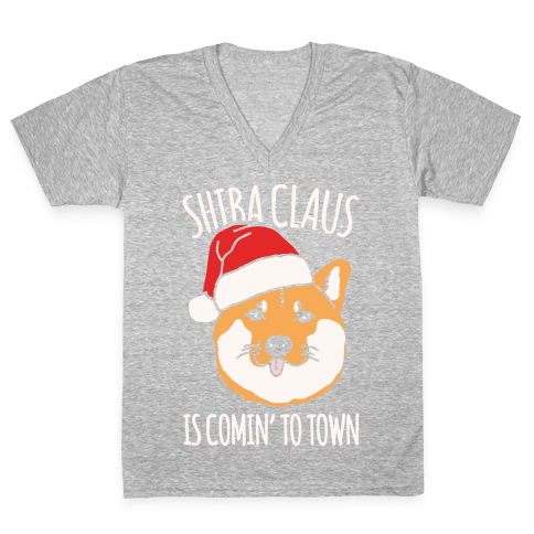 Shiba Claus Is Comin' To Town White Print V-Neck Tee Shirt