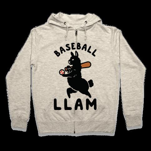 Baseball Llam Zip Hoodie