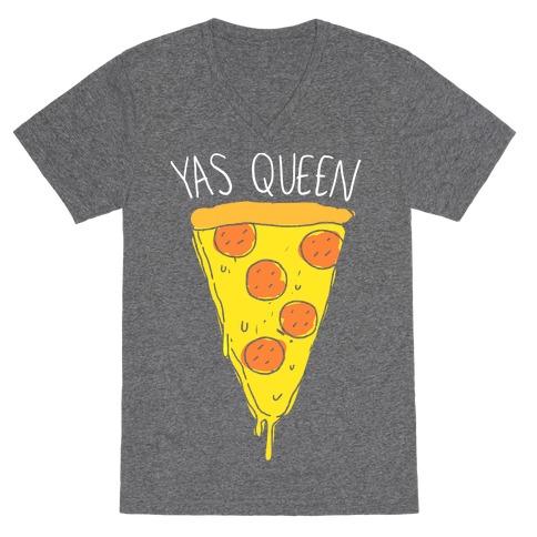 Yas Queen Pizza V-Neck Tee Shirt