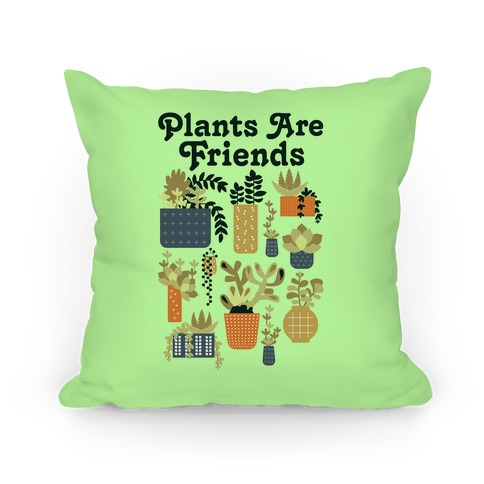 Plants Are Friends Retro Pillow