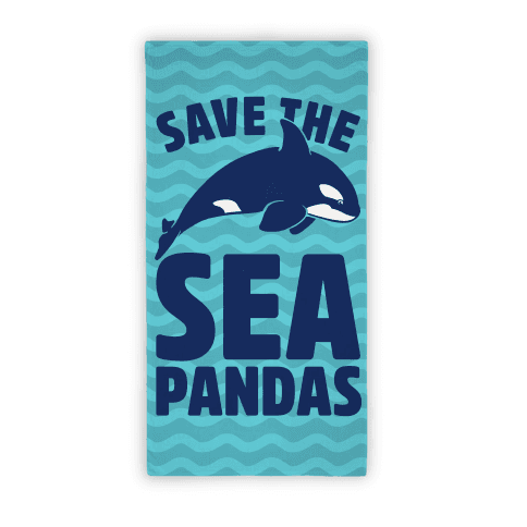 Save The Sea Pandas Beach Towel