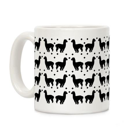 Llama Black and White Boho Pattern Coffee Mug