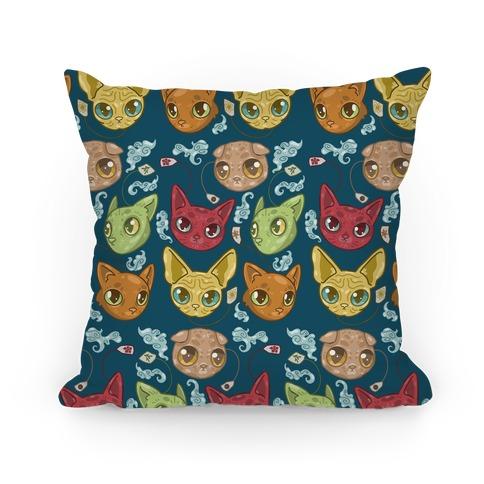 Tea Cats Pillow