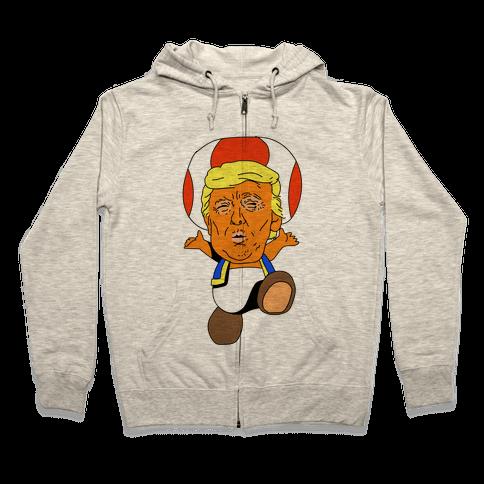 Donald Trump Toad Mushroom Zip Hoodie