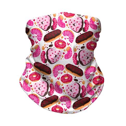 Valentine's Day Donuts Pattern Neck Gaiter