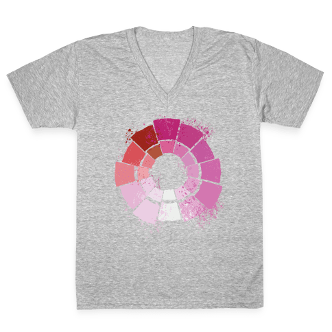 Lesbian Pride Color Wheel V-Neck Tee Shirt