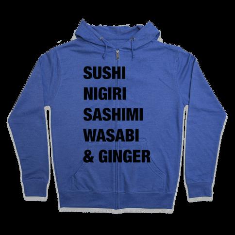 Sushi Nigiri Sashimi Wasabi & Ginger Zip Hoodie